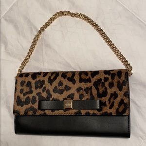 Kate Spade Black/Leopard Print Clutch/Chain Wallet